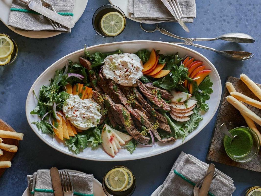 Beef Steak with Fresh Peaches and Burrata